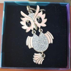 Sparkling Rhinestone Pink Owl Necklace